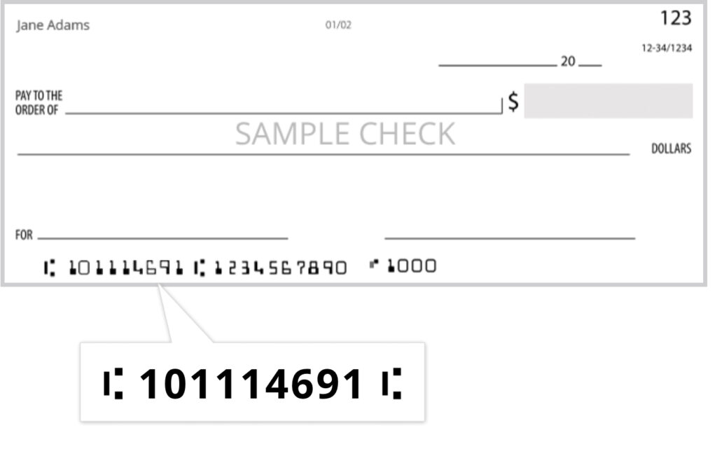 Blank bank check with the routing number shown prominently ' |: 101114691 |: